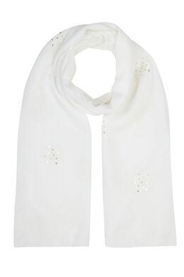 Sjaal geborduurd met bloemen en lovertjes, Wit