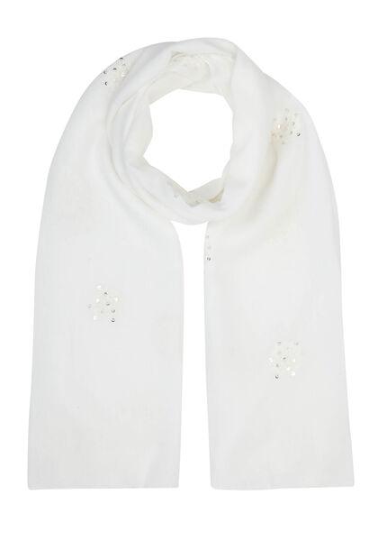 Sjaal geborduurd met bloemen en lovertjes - Wit