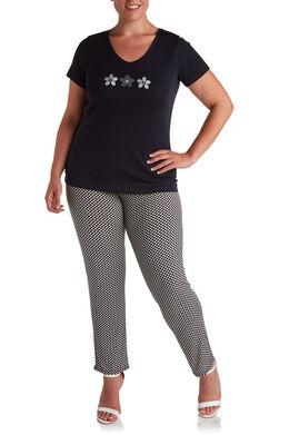 Broek in koel tricot met kleine print, Zwart