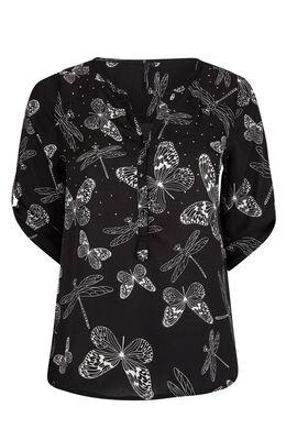 Zomers shirt, vlinders en libellen Zwart