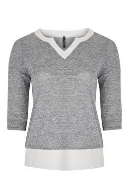 T-shirt 2-in-1 van gevlamd tricot, Gris Chine