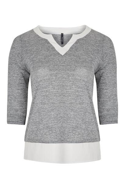 T-shirt 2-in-1 van gevlamd tricot - Gris Chine