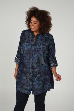 Lang overhemd met bladprint, Denim