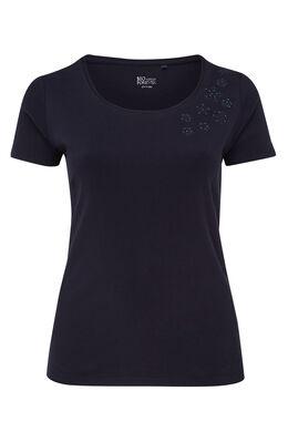 T-shirt en coton biologique brodé, Marine