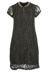 Kanten jurk met een kraag van tricot