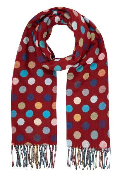 Sjaal met grote, veelkleurige stippen - Tomaat