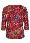 T-shirt van warm tricot met cirkels & lijnen, Bordeaux