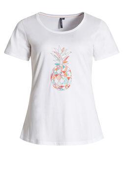 T-shirt met geborduurde ananas, Wit