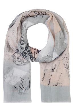 Sjaal bedrukt met postkaarten, Lichtgrijs