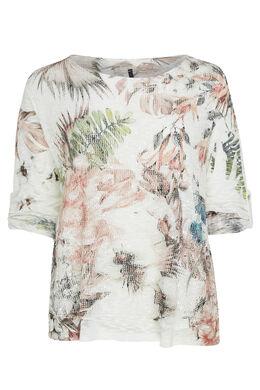 T-shirt van mesh met bladerenprint, Roze