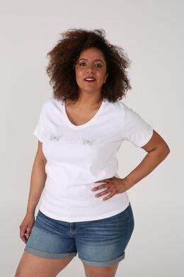 T-shirt coton bio imprimé 3 papillons, Blanc