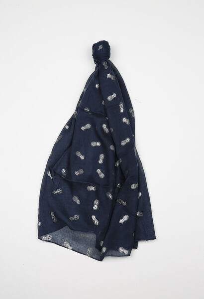 Sjaal met ananasprint - Indigo