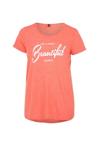 "T-shirt met print ""Beautiful"" - Koraal"