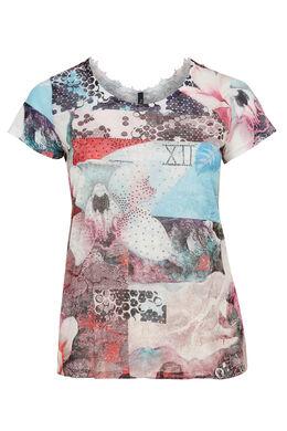 T-shirt van bedrukte stof en met kantwerk, Multicolor