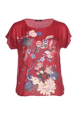 Satijnachtig T-shirt met Japanse print, Bordeaux
