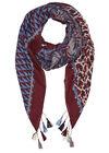 Sjaal met gemixte print en pompons, Bordeaux