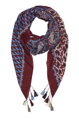 Sjaal met gemixte print en pompons Bordeaux