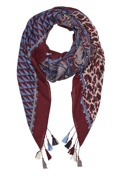 Sjaal met gemixte print en pompons - Bordeaux