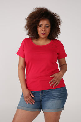 T-shirt van biokatoen met borduurwerk, Kers