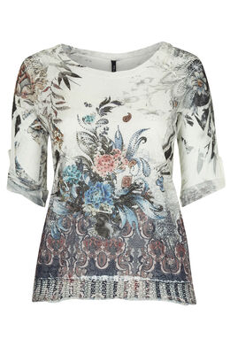 T-shirt 2-in-1 in bedrukt tricot  Indigo