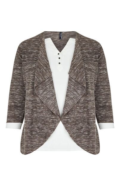T-shirt 2-in-1 blouse en cardigan - Taupe