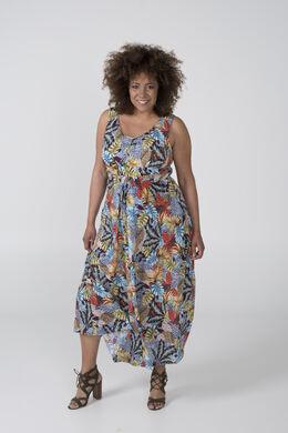 Longue robe imprimé feuillage, multicolor