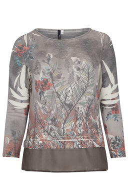 T-shirt van bedrukt lurex tricot, Grijs