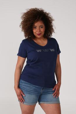 T-shirt coton bio imprimé 3 papillons, Bleu nuit
