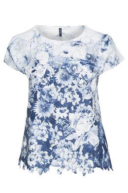 T-shirt met hartjesprint en strasssteentjes, Wit