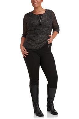 Pantalon esprit jegging avec zips, Noir
