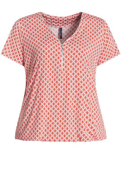 T-shirt in bedrukt koel tricot - Koraal