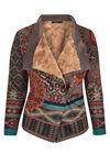 Veste suédine, imprimé mandala, multicolor