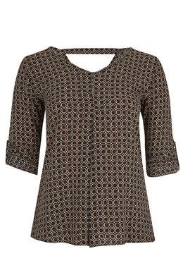 Geometrisch bedrukte blouse Zwart