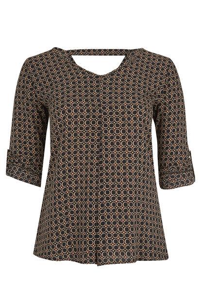 Geometrisch bedrukte blouse - Zwart