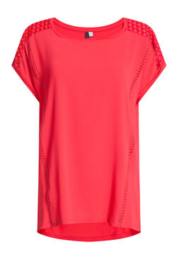 T-shirt in twee stoffen met kantdetail, Koraal