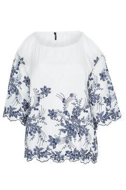 Blouse broderie fleurs épaules ouvertes, Blanc