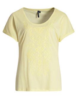 T-shirt met etnische print, Geel
