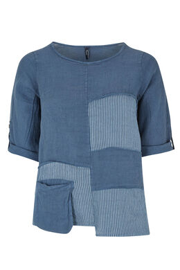 Linnen blouse met gestreepte patches, Indigo