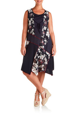 Lange jurk in materiaalmix met print, Marineblauw