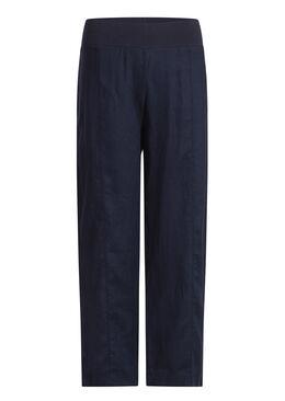 Broek in 100% linnen, Marineblauw