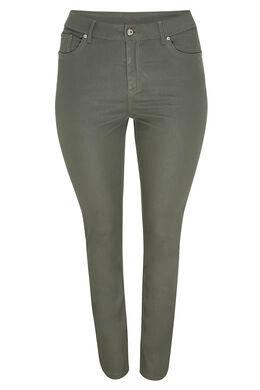 Pantalon slim enduit en coton bio, Kaki
