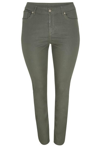Pantalon slim enduit en coton bio - Kaki