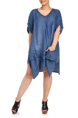 Tuniek in tencel met lovertjes, Denim