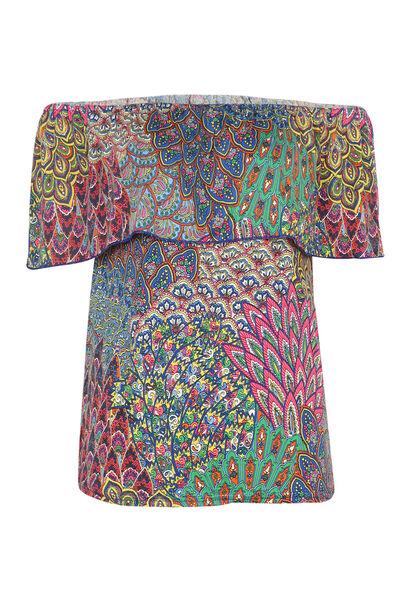 T-shirt met open schouders - Multicolor