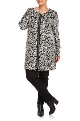 Lange jas van jacquardtricot, Zwart