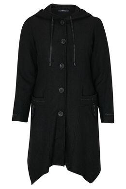 Lange mantel van gekookte wol, Zwart