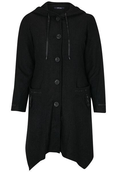 Lange mantel van gekookte wol - Zwart