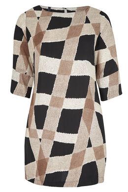 Robe tunique en crêpe imprimé graphique Noir