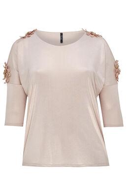 T-shirt met blote schouders en grote bloemen, Blush