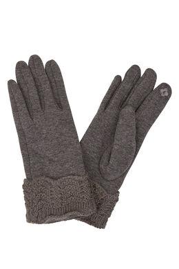 Handschoenen met gebreide boord, Grijs